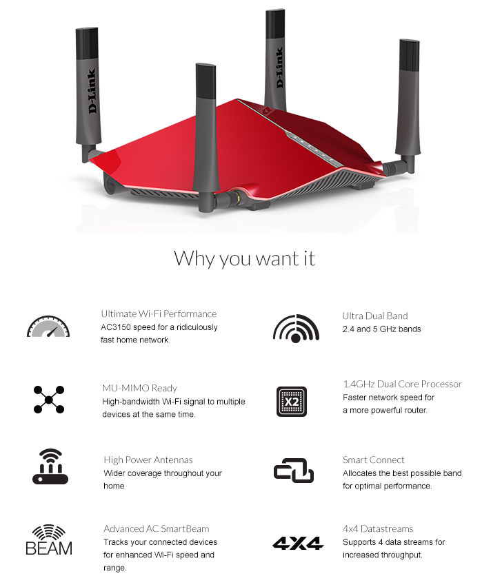 Buy the D-Link DIR-885L MU-MIMO, Gigabit Wi-Fi Router, Dual-Band